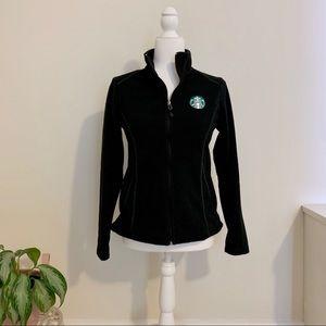 Starbucks Black Zip Up Fleece Jacket Sz XS